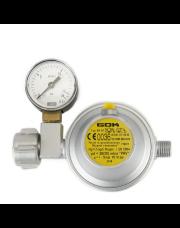 GOK gasdrukregelaar afblaasbeveiliging en manometer 30 mbar DIN X 1/4 inch links